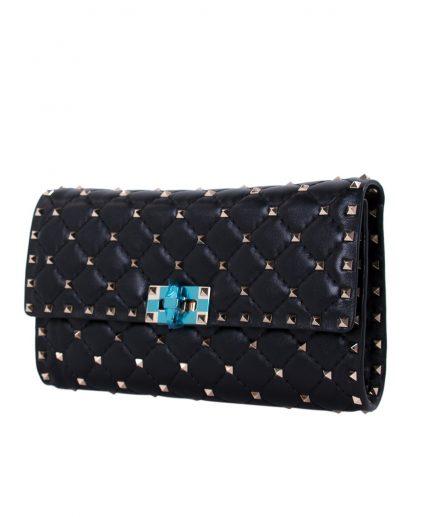 Valentino Black Quilted Rockstud Spike Clutch Bag