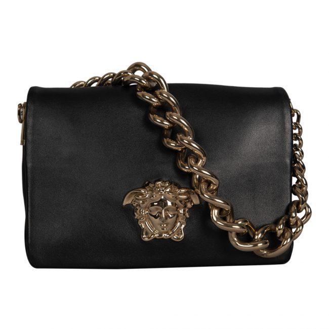 Versace Black Leather Palazzo Medusa Shoulder Bag