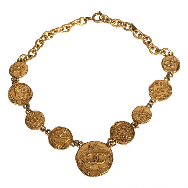 Chanel Gold Tone CC Hammered Finish Coin Necklace