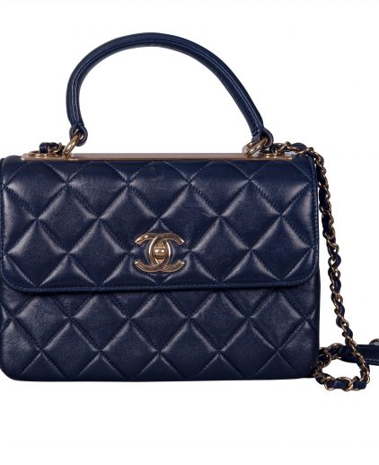 Chanel Blue Lambskin Leather Trendy CC Medium Top Handle Bag