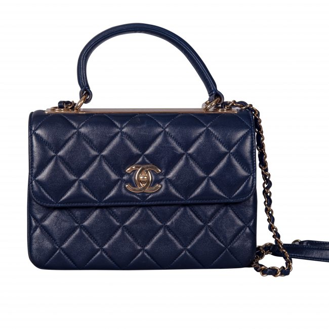 Chanel Blue Lambskin Leather Trendy CC Medium Top Handle Bag