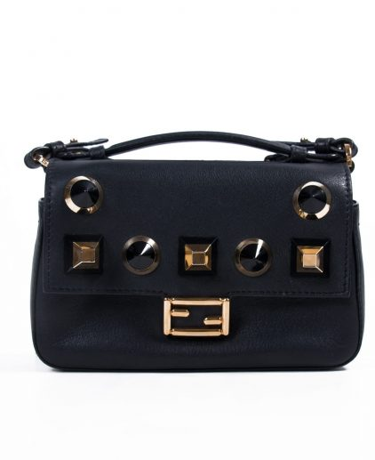 Fendi Micro Black Leather Micro Double Baguette Shoulder Bag