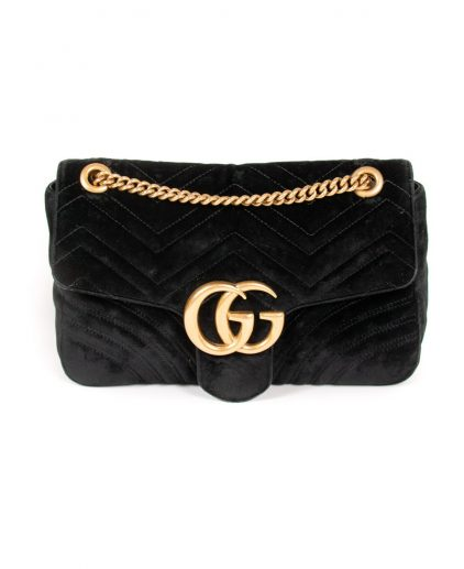 Gucci Black Velvet GG Medium Matelasse Shoulder Bag