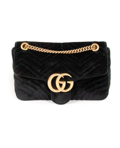 Gucci Black Velvet GG Medium Matelasse Shoulder Bag