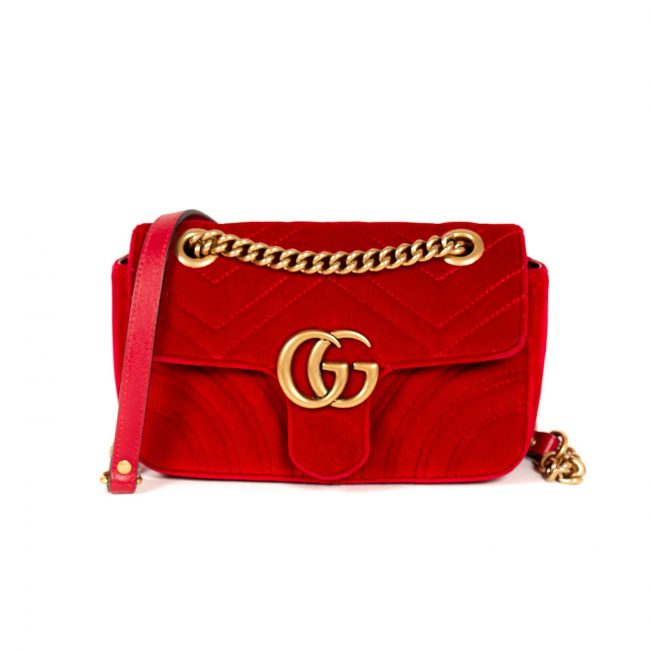 Gucci Red Chevron Velvet GG Mini Marmont Matelasse Handbag