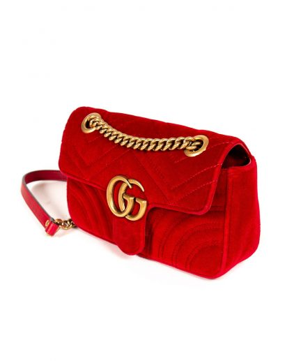 Gucci Red Chevron Velvet GG Mini Marmont Matelasse Handbag