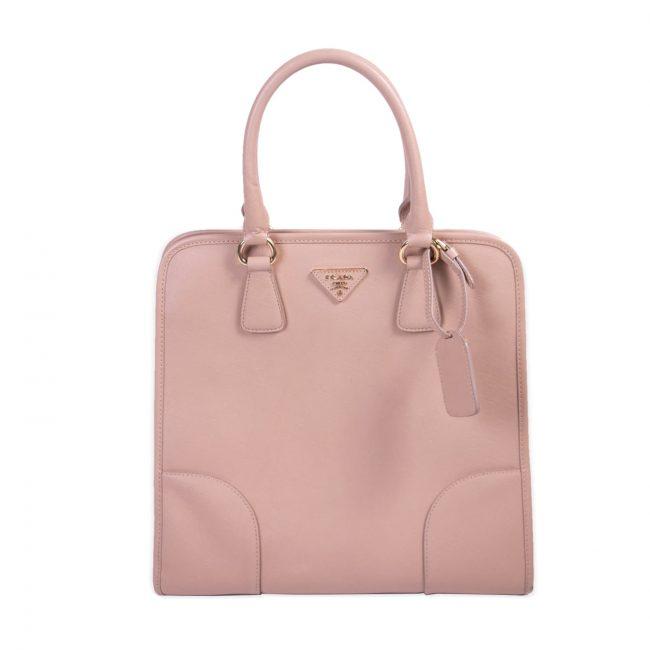 Prada Light Pink Saffiano lux Leather Satchel Handbag