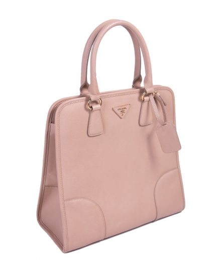 Prada Light Pink Saffiano lux Leather Satchel Handbag