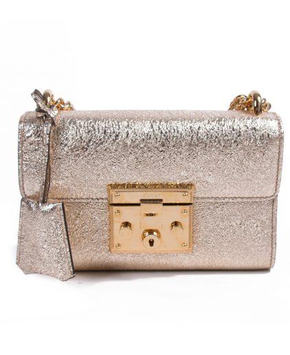 Gucci Metallic Gold Leather Padlock Chain Shoulder Bag