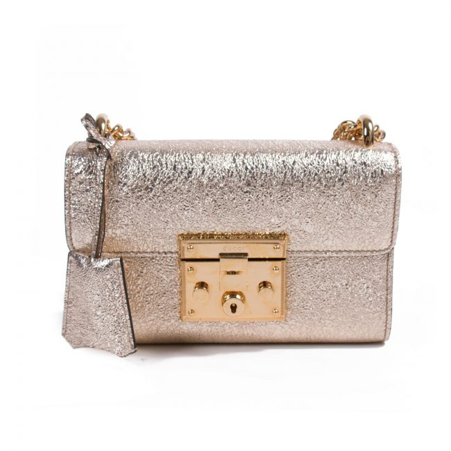 Gucci Metallic Gold Leather Padlock Chain Shoulder Bag