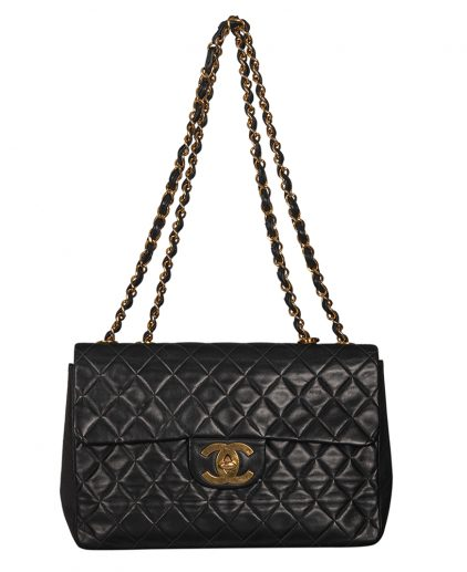 Chanel Vintage Black Quilted Caviar Leather Single Flap Bag