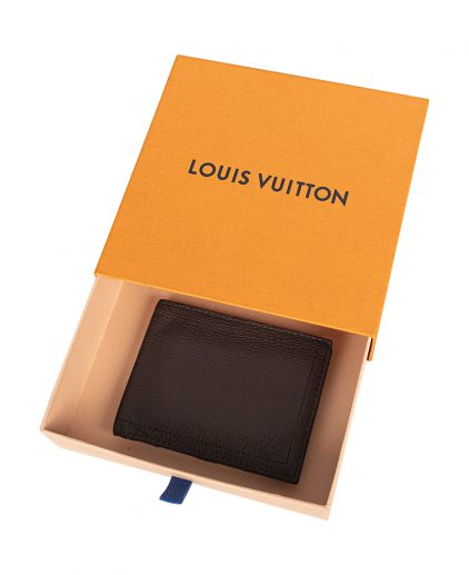 Louis Vuitton Men Dark Brown Calf Leather Multiple Compartment Wallet