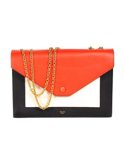 Celine Multicolor Leather Pocket Envelope Shoulder Bag