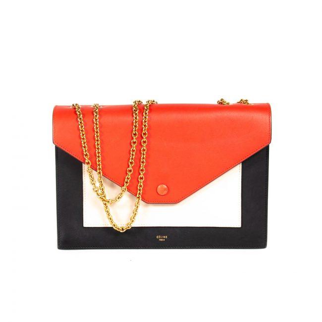 Celine Multicolor Leather Pocket Envelope Shoulder Bag