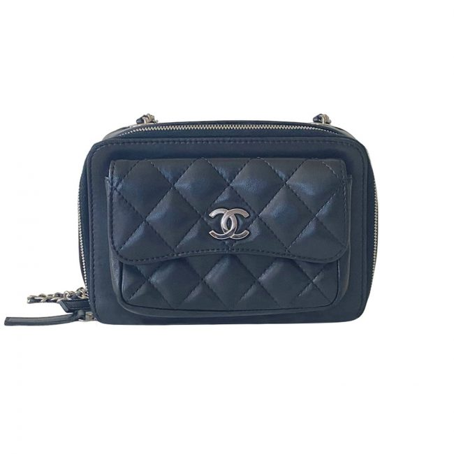 Chanel Blue Quilted Leather Mini Camera Pocket Box Case Shoulder Bag