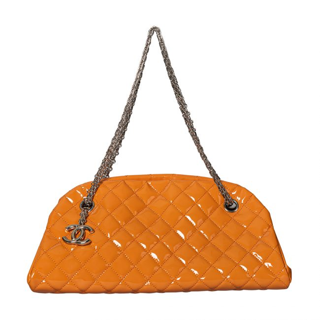 Chanel Melon Orange Patent Leather Medium Just Mademoiselle Bowler Bag