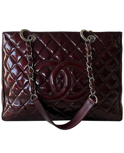 Chanel Wine Red Patent Leather Grand Shopping Tote Handbag