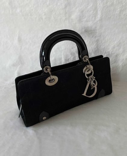 Dior Black Patent Leather East West Lady Dior Bag