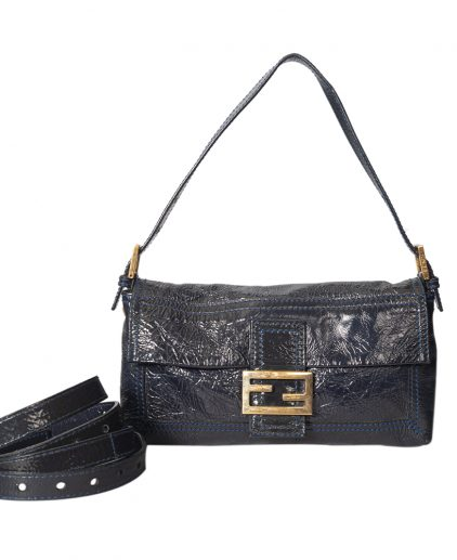 Fendi Blue Metallic Leather Baguette Shoulder Bag