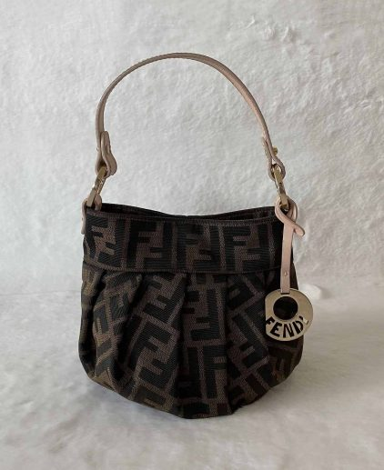 Fendi Vintage Brown Zucca Mini Bucket Handbag