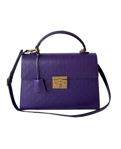 Gucci Purple Guccissima Leather Padlock Shoulder Handbag