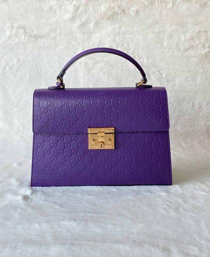 Gucci Purple Guccissima Leather Padlock Shoulder Handbag