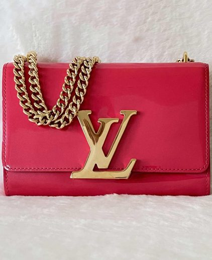 Louis Vuitton Pink Patent Leather Louise MM Handbag