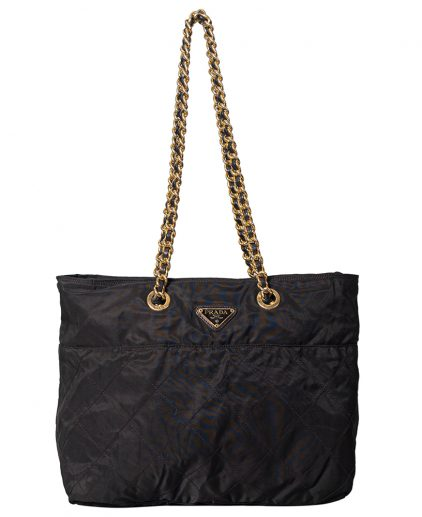 Prada Black Fabric Gold Tone Hardware Large Shoulder Handbag