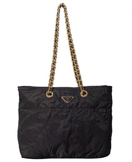 Prada Black Fabric Gold Tone Hardware Large Shoulder Handbag