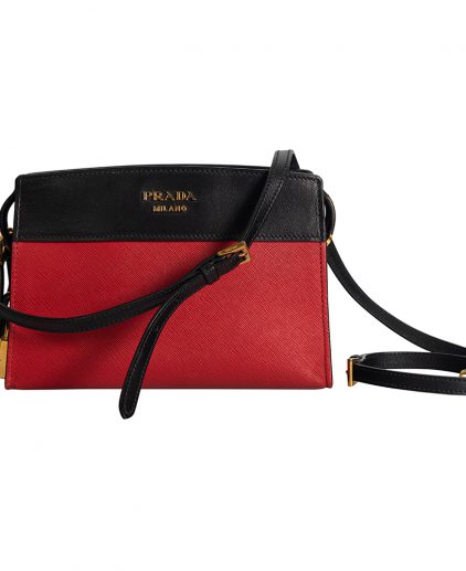 Prada Black Red Saffiano Lux Leather Crossbody Bag