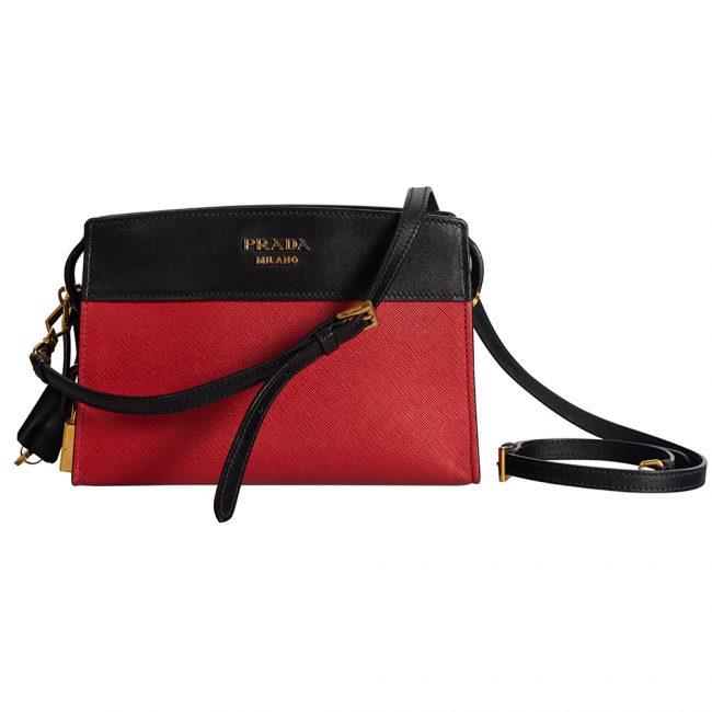 Prada Black Red Saffiano Lux Leather Crossbody Bag