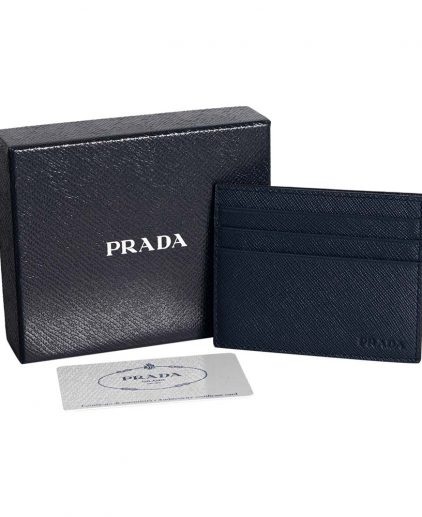 Prada Dark Blue Saffiano Leather Card Holder