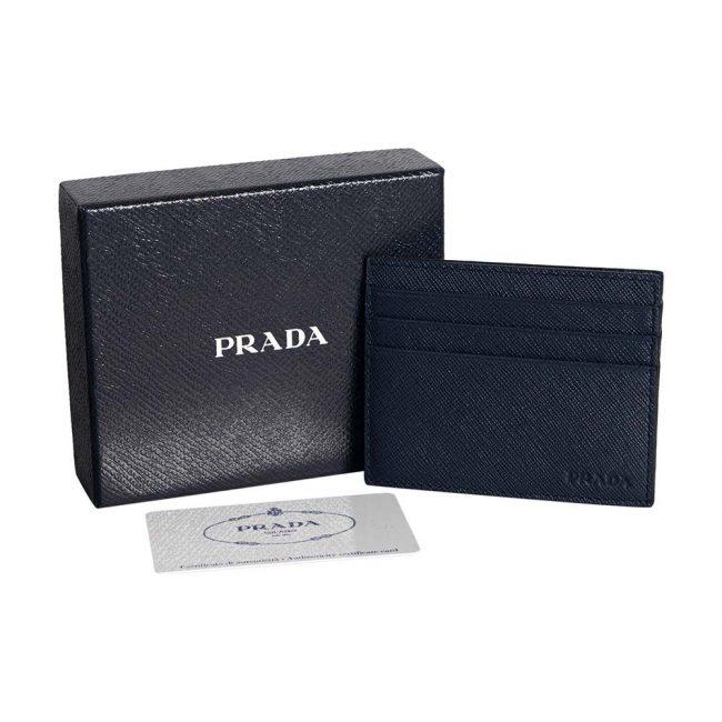 Prada Dark Blue Saffiano Leather Card Holder