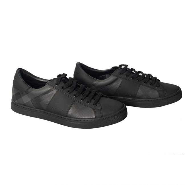 Burberry Black Nova Check Leather Westford Low Top Sneakers Size 41