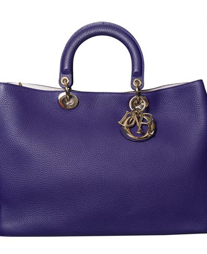 Dior Purple Pebbled Leather Large Diorissimo Shopper Tote