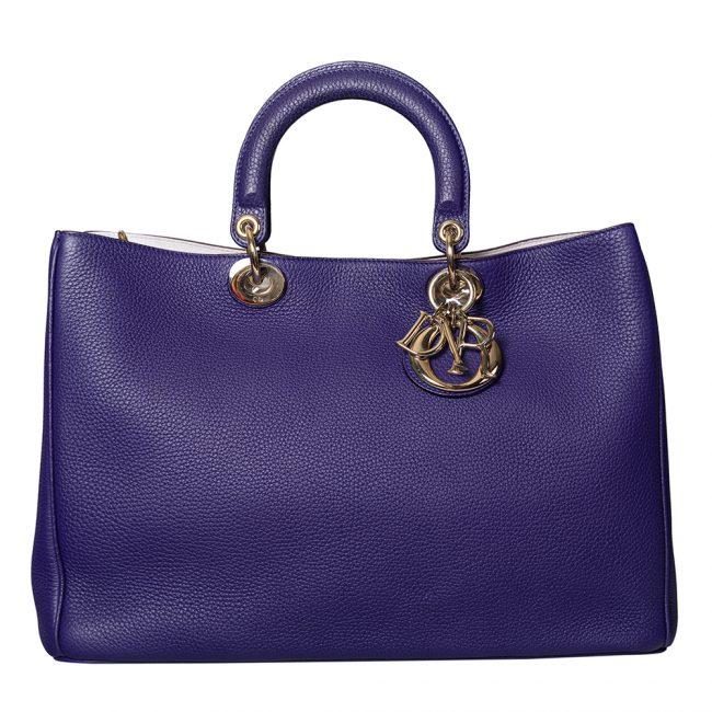 Dior Purple Pebbled Leather Large Diorissimo Shopper Tote