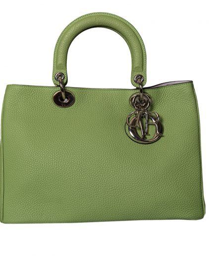 Dior Green Pebbled Leather Medium Diorissimo Shopper Tote