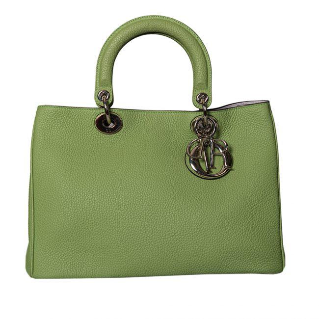 Dior Green Pebbled Leather Medium Diorissimo Shopper Tote