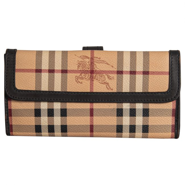 Burberry Beige/Brown Haymarket Check Coated Canvas Leather Continental Flap Wallet