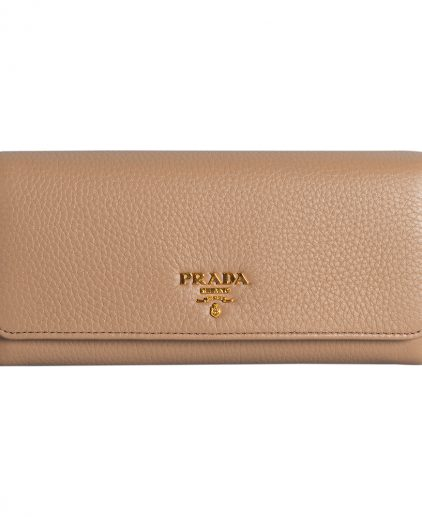 Prada Beige Leather Long Saffiano Flap Wallet