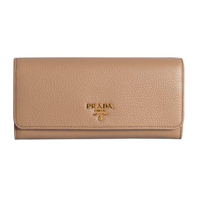 Prada Beige Leather Long Saffiano Flap Wallet