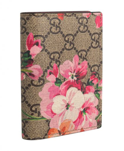 Gucci Beige Pink GG Supreme Canvas Blooms Card Case