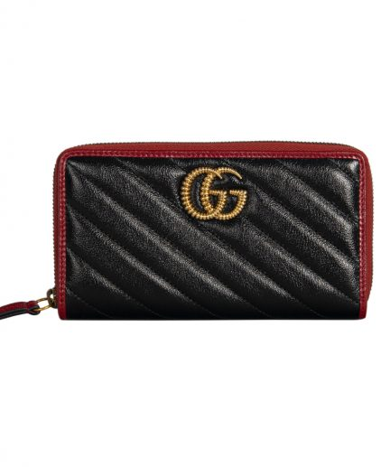 Gucci Black Matelasses Leather GG Marmont Zip Around Wallet