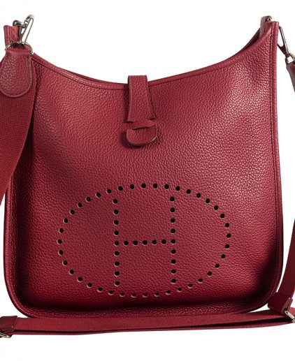 Hermes Rouge Casaque Clemency Leather Evelyne Bag