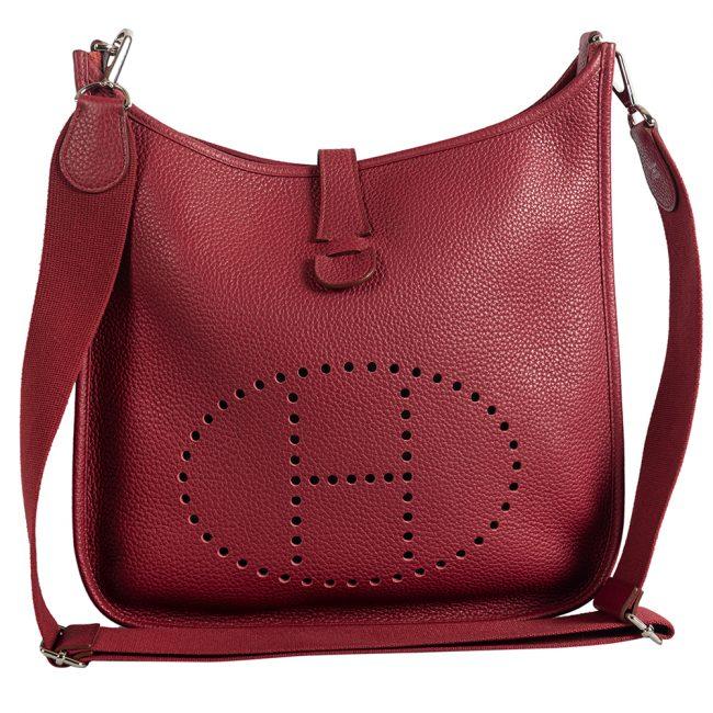 Hermes Rouge Casaque Clemency Leather Evelyne Bag