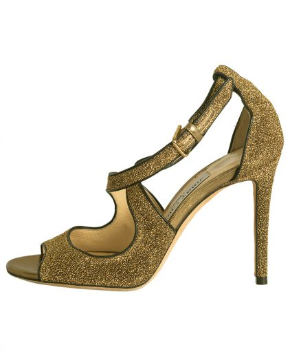 Jimmy Choo Gold Suede Leather Multi Strap Pumps Size 35