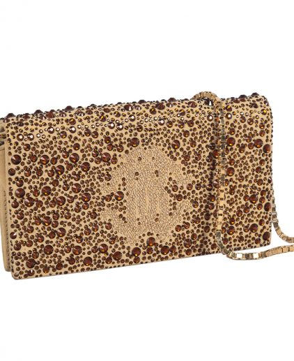 Roberto Cavalli Beige Suede Crystal Embellished Chain Clutch