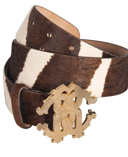 Roberto Cavalli Brown Leopard Print Calf Hair Logo Buckle Belt 40 Inch