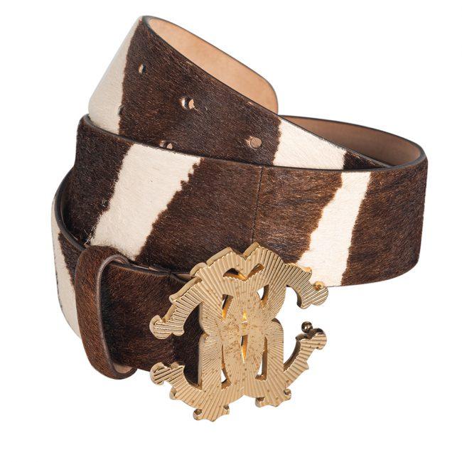 Roberto Cavalli Brown Leopard Print Calf Hair Logo Buckle Belt 40 Inch
