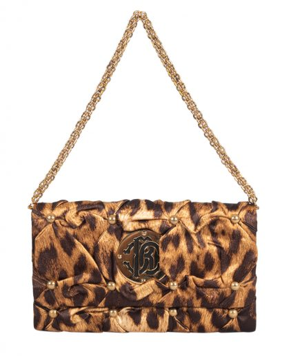 Roberto Cavalli Brown Fabric Cocktail Chain Clutch